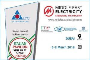La Triveneta Cavi will take part at the Middle East Electricity  | Dubai, 6th-8th March 2018